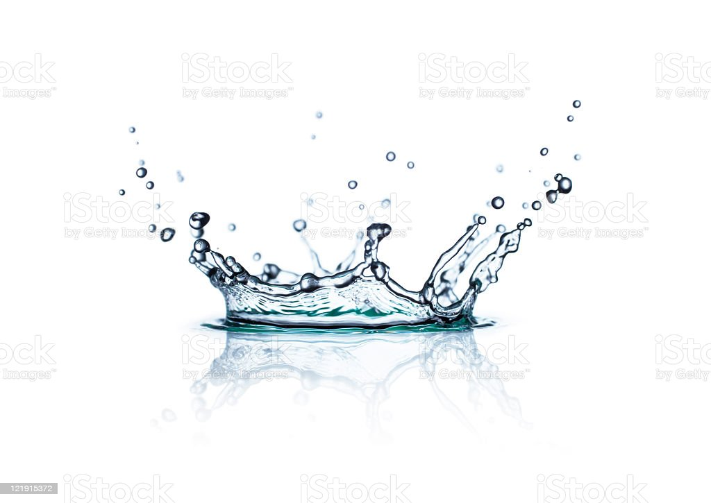 A still water splash on a white background royalty-free stock photo