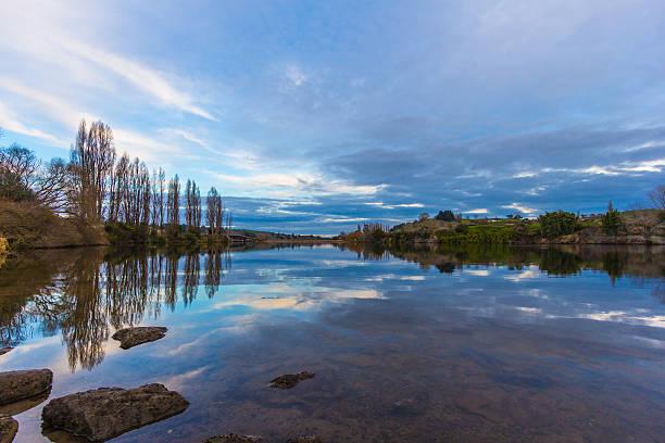 Still waters of Lake Karapiro stock photo