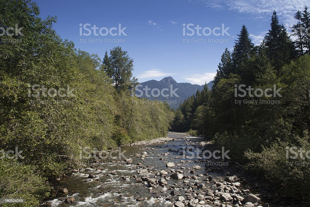 Stillaguamish River and Cascade Mountains stock photo