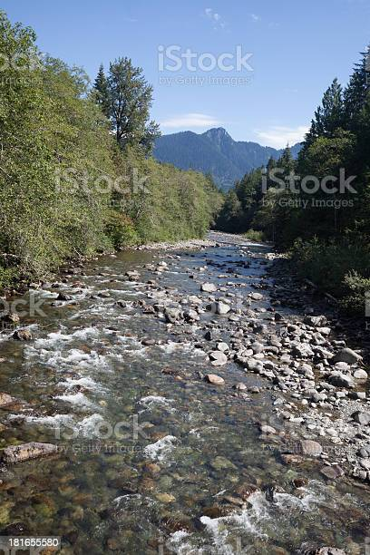 Stillaguamish River Flowing And Cascade Mountains Stock Photo - Download Image Now