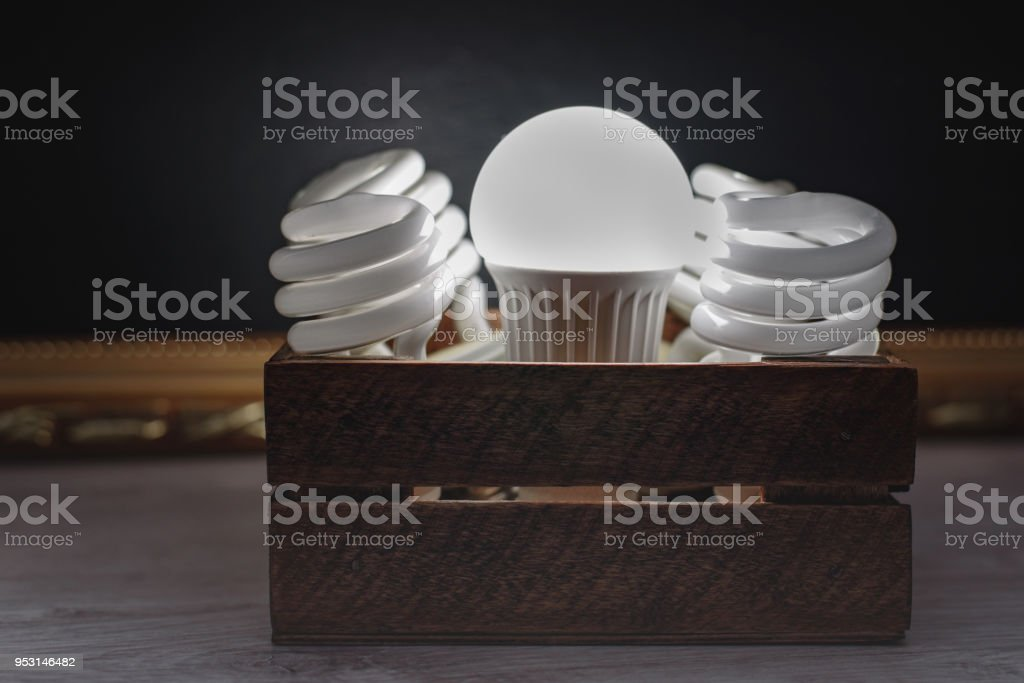 Still-life energy-saving fluorescent and LED light bulbs in a wooden...