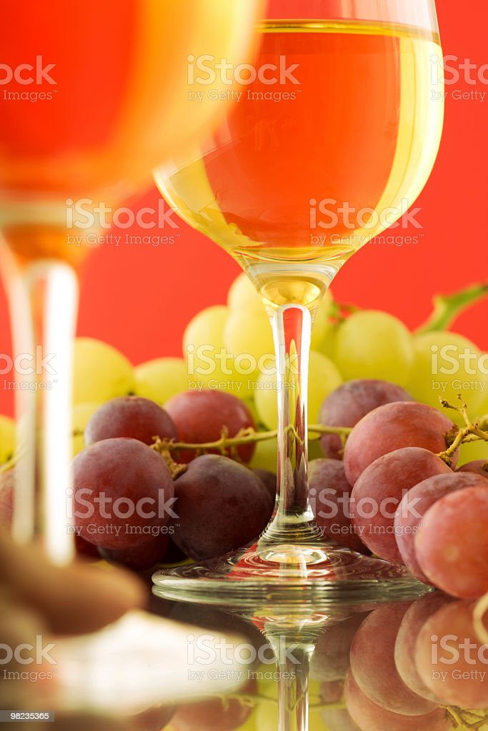 Still-life - glasses with wine and grapes royalty-free stock photo