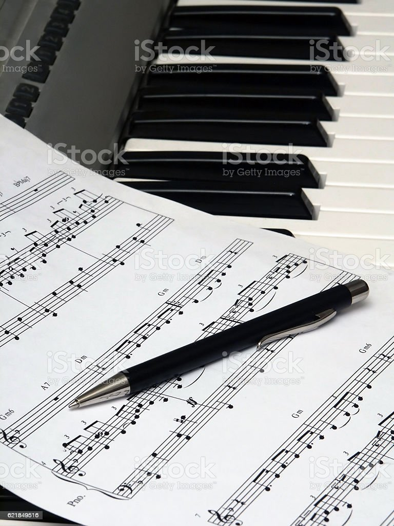 Still-life on a musical theme. stock photo