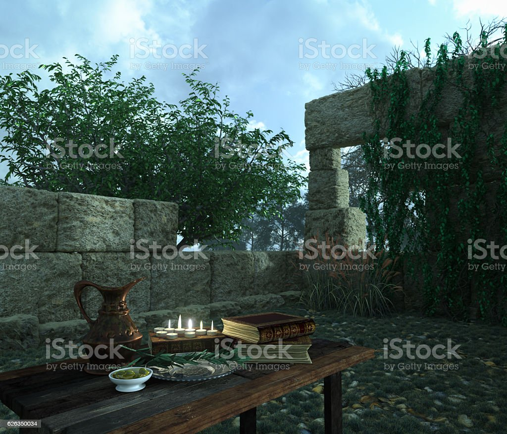 stilllife on background with ancient ruins, books, olive and pitcher stock photo