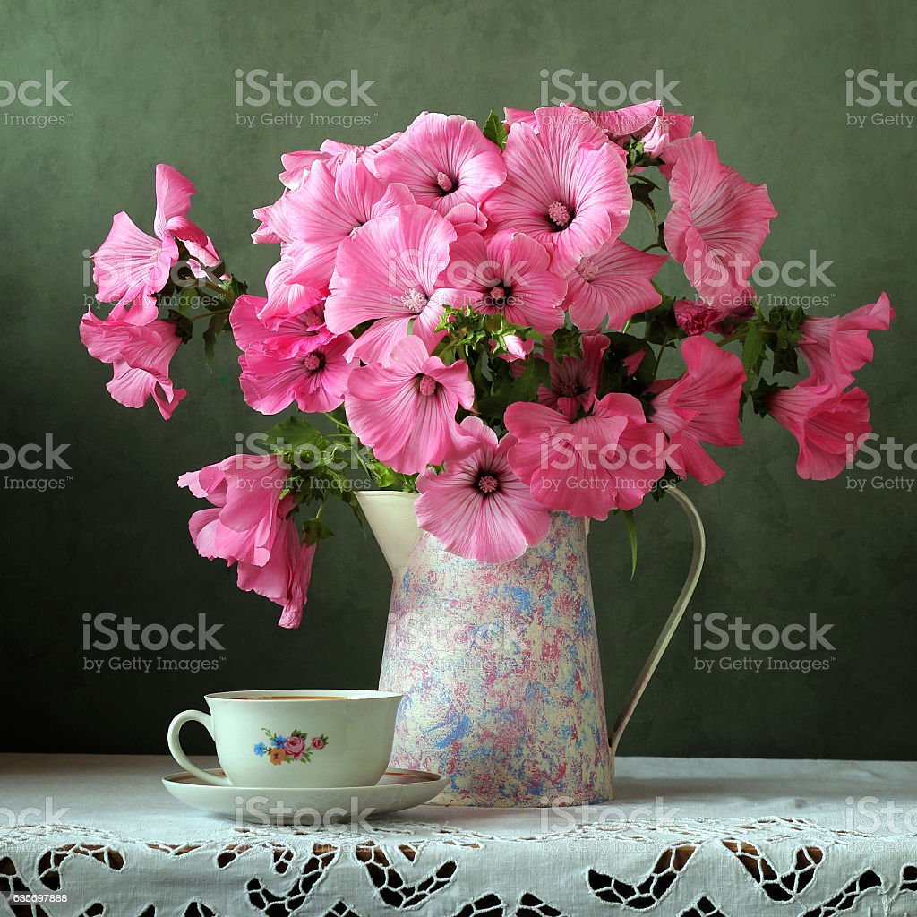 Still-life with a bouquet in a jug royalty-free stock photo