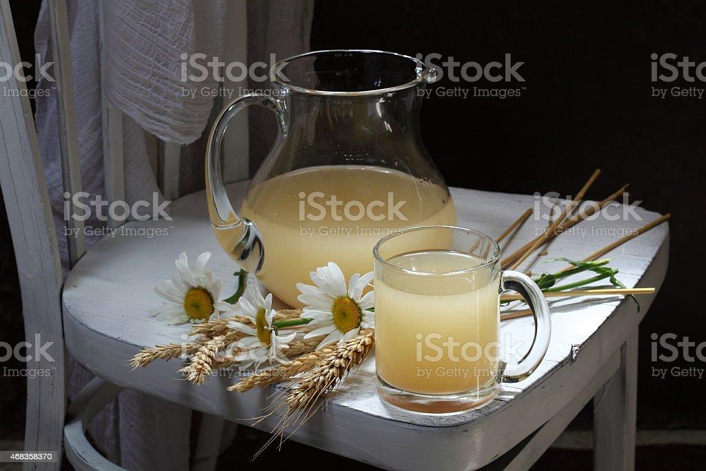 Still-life with a freshening tasty grain drink royalty-free stock photo