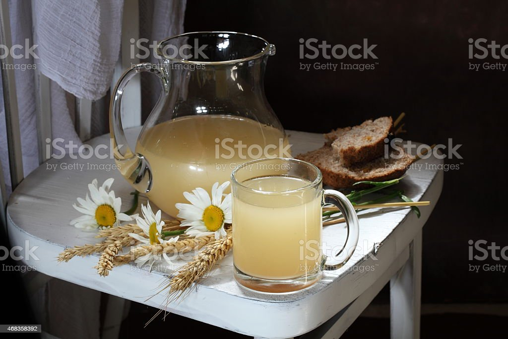 Still-life with a freshening tasty grain drink royalty-free stock photo