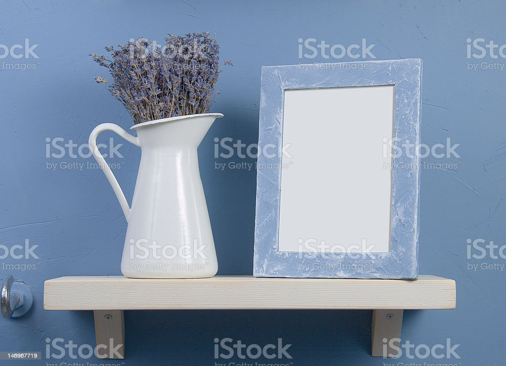 Still-life with lavender and frame royalty-free stock photo