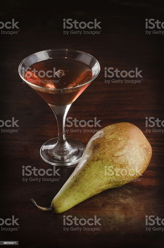 Still-life With Wine and a pear royalty-free stock photo