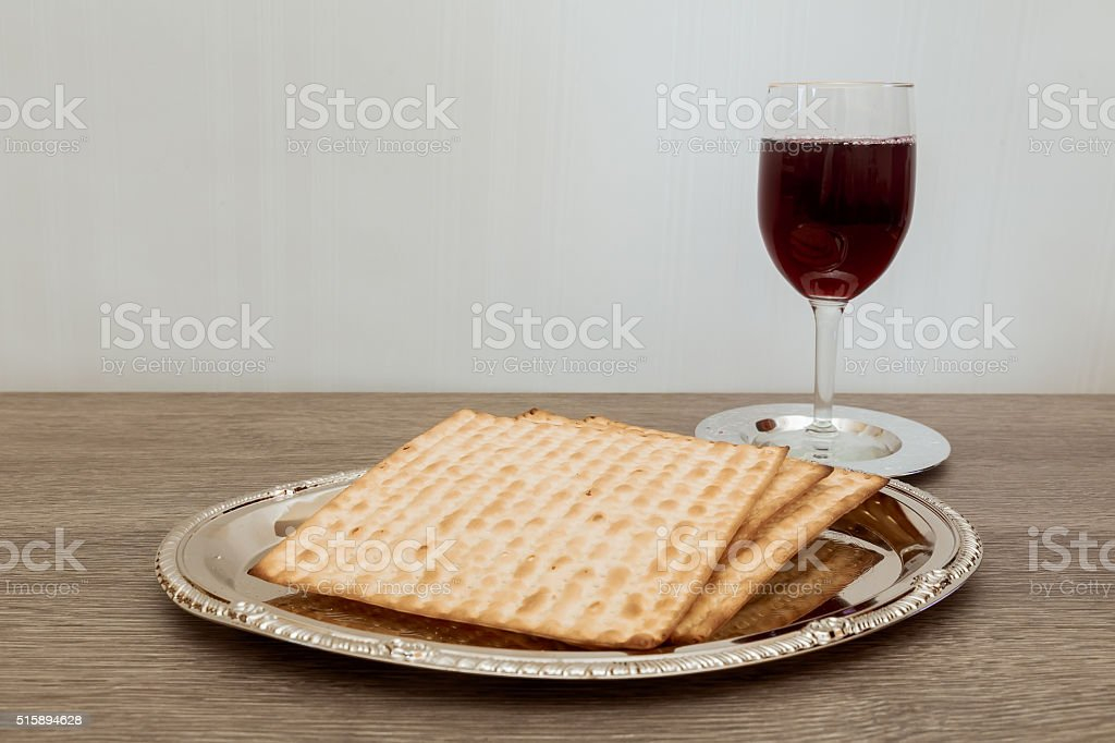 Still-life with wine and matzoh jewish passover bread stock photo