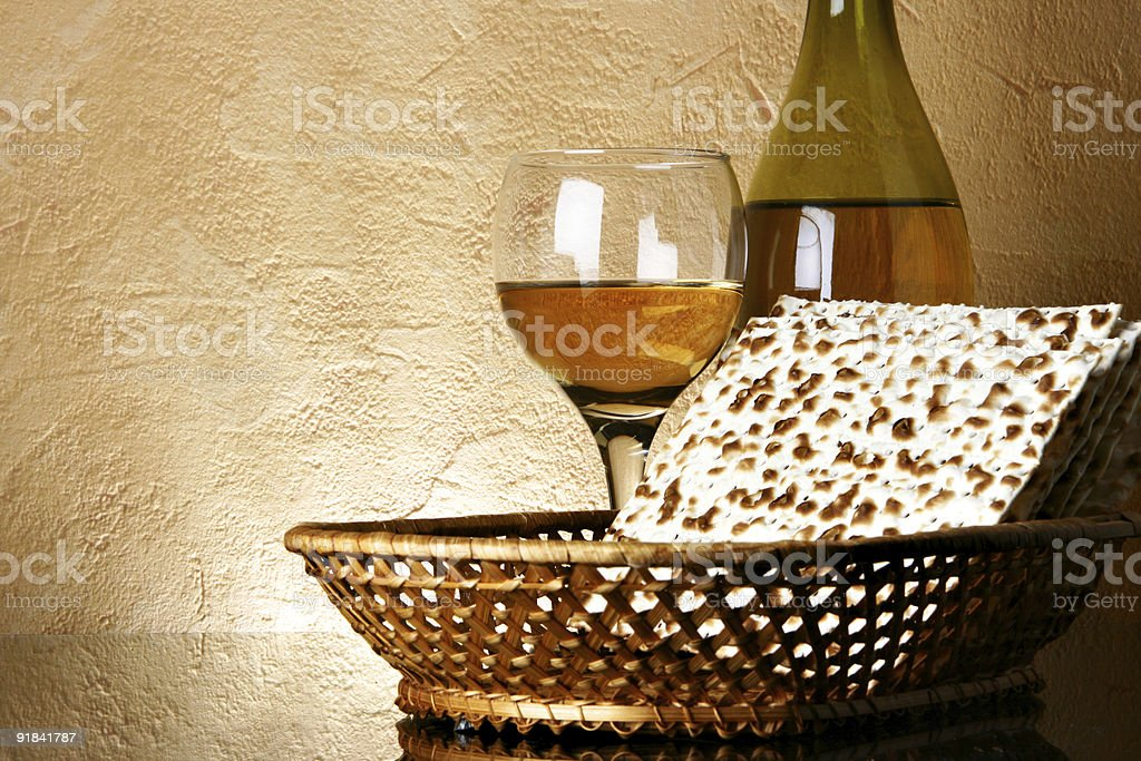 Still-life with wine and matzoh stock photo