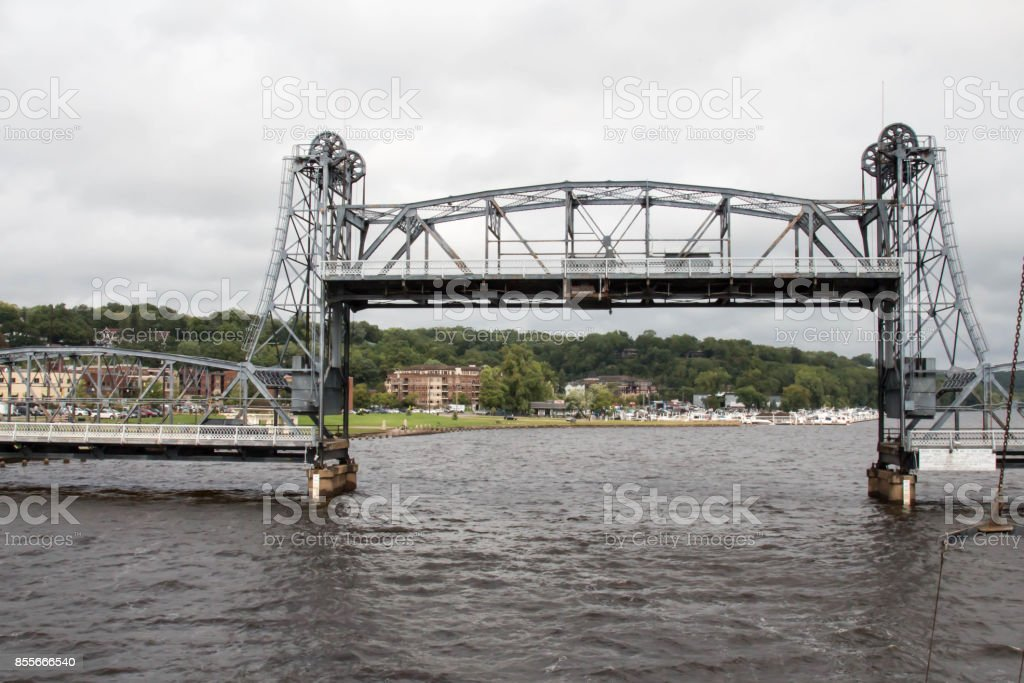 Stillwater Lift Bridge on the St Croix River stock photo