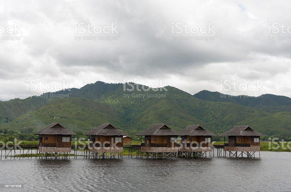 Stilt bungalows on InleLlake, Myanmar stock photo