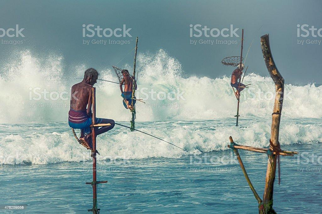 Stilt fishermen of Sri Lanka stock photo