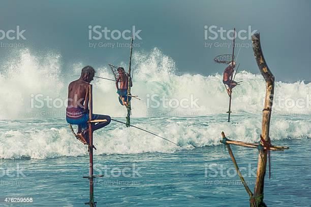 Stilt Fishermen Of Sri Lanka Stock Photo - Download Image Now