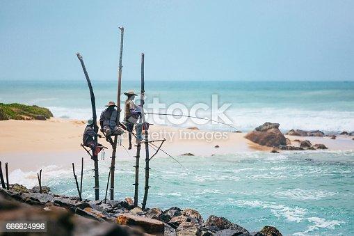 Traditional stilt fishing on Sri Lanka. Shot taken near Koggala.