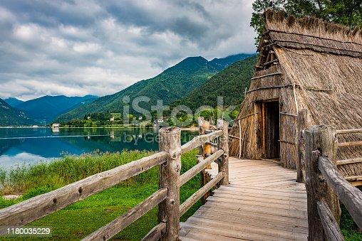 istock stilt house at lago di ledro in Italy 1180035229
