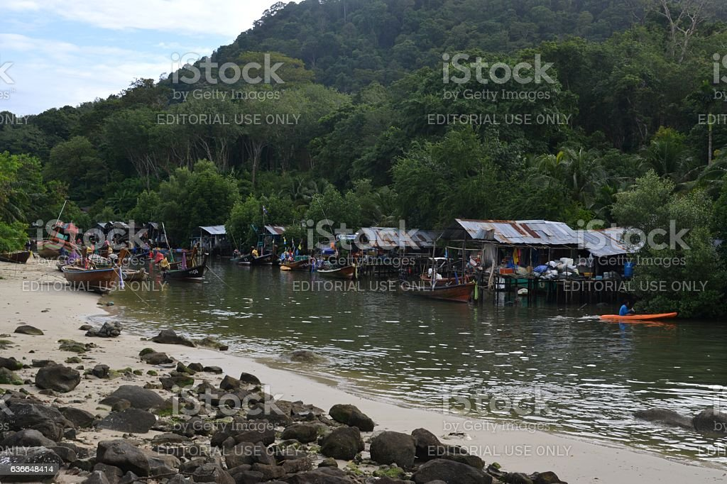 Stilt houses community in Patong beach, Phuket, Thailand stock photo