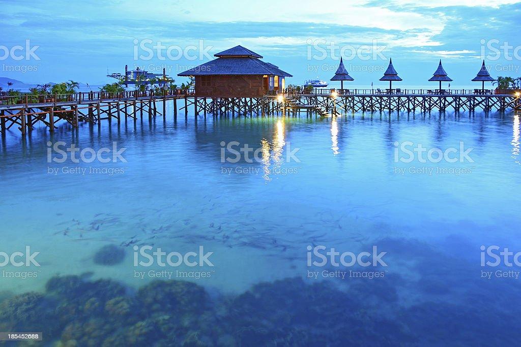 Stilt houses in twilight, Sipadan Mabul  - Malaysia stock photo