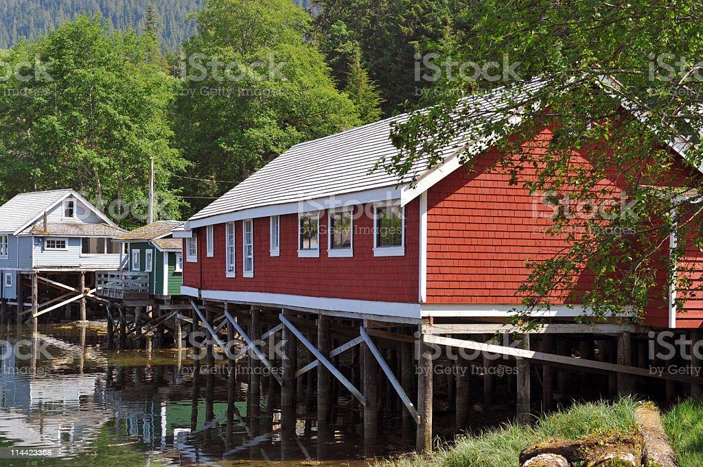 Stilt houses,Telegraph Cove stock photo