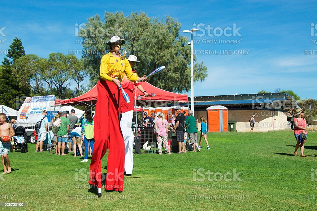 Stilt Walking Lifeguards stock photo
