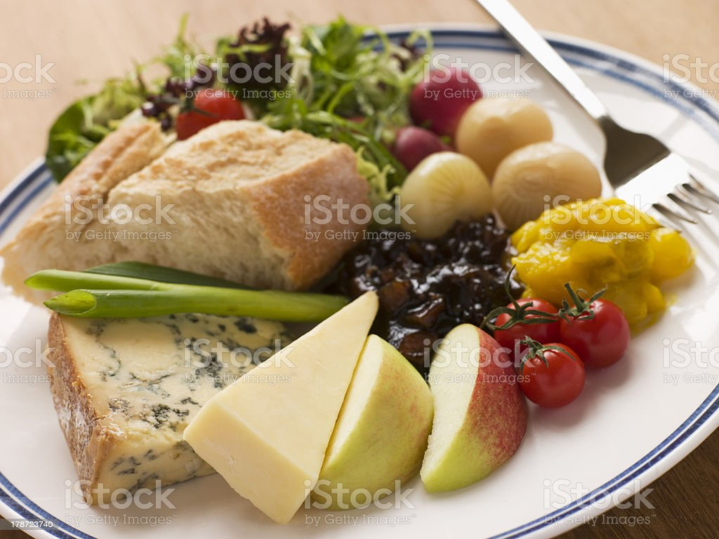 Stilton and Mature Cheddar Ploughman's stock photo