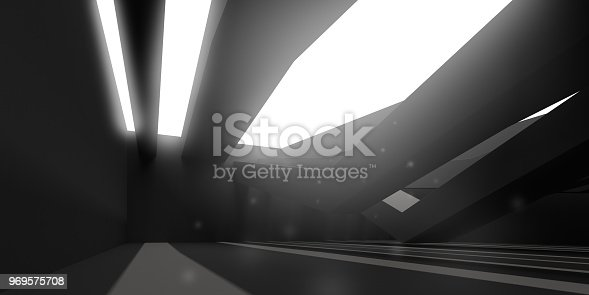 istock 3D stimulate of dark interior space with sun light cast the roof shadow on the wall and floor,Perspective of minimal design architecture,3d rendering 969575708