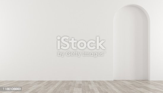istock 3D stimulate of empty white room with arch wall design and wood laminate floor,Perspective of minimal design.Illustrate. 1156106663