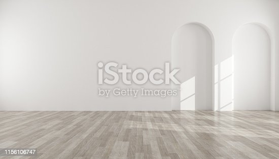 istock 3D stimulate of empty white room with arch wall design and wood laminate floor, Sun light cast shadow on the wall,Perspective of minimal design.Illustrate. 1156106747