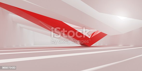 istock 3D stimulate of white interior space and red line with sun light cast the shadow on the wall and floor,Perspective of minimal design architecture,3d rendering 969575430