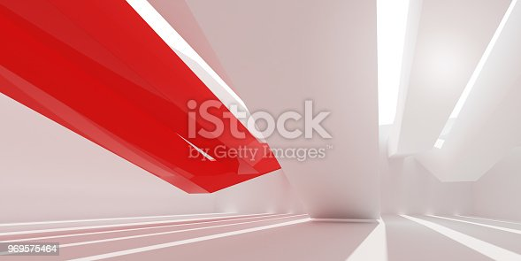 istock 3D stimulate of white interior space and red line with sun light cast the shadow on the wall and floor,Perspective of minimal design architecture,3d rendering 969575464