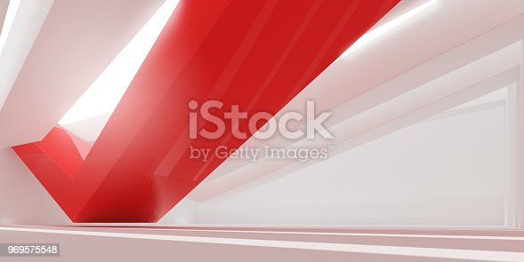 istock 3D stimulate of white interior space and red line with sun light cast the shadow on the wall and floor,Perspective of minimal design architecture,3d rendering 969575548