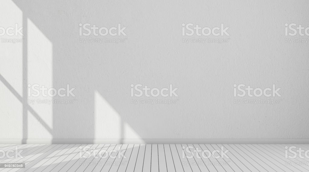 3D stimulate of white room interior and wood plank floor with sun light cast the window shadow on the wall,Perspective of minimal design architecture stock photo