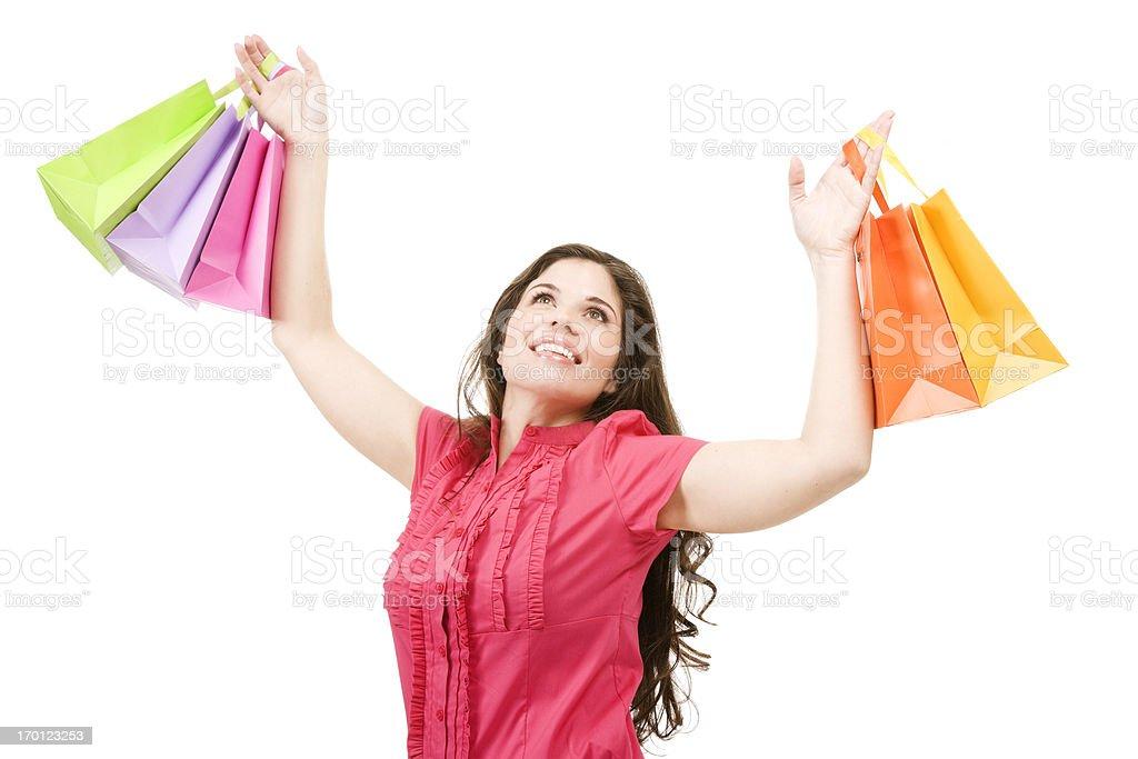 stimulate the economy happy Hispanic woman shopping bags isolated beautiful royalty-free stock photo