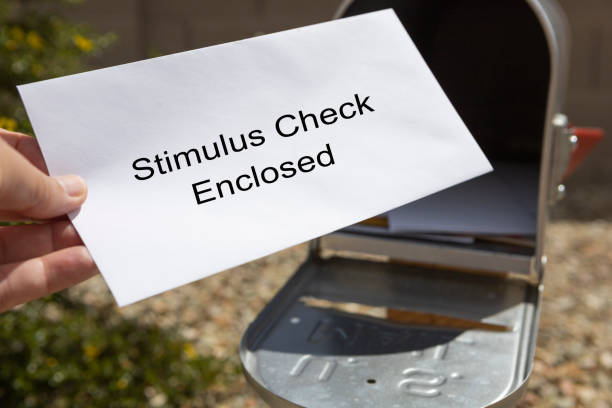 Stimulus Check in the Mail stock photo