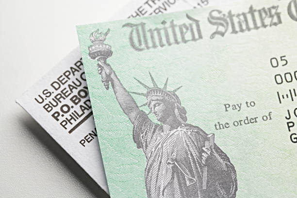 Stimulus Check: USA government check, payment Stimulus Check: USA government check, payment stimulus check stock pictures, royalty-free photos & images