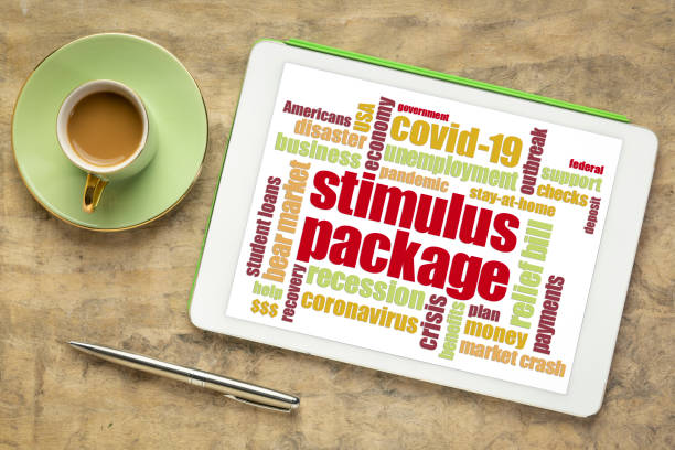 stimulus package during coronavirus pandemic word cloud stock photo