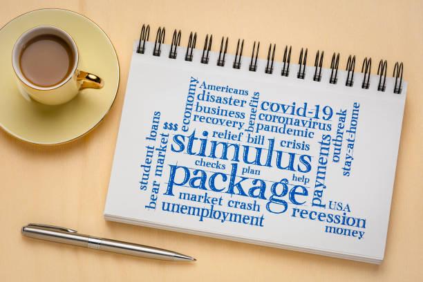 stimulus package word cloud in sketchbook stock photo