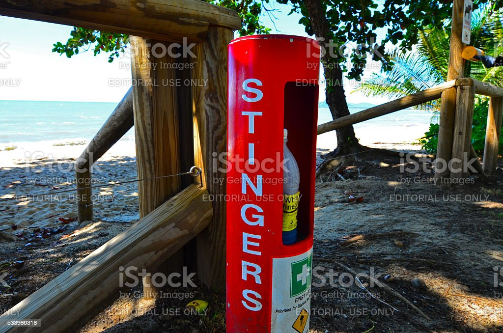 Stinger first aid station relief on the beach stock photo