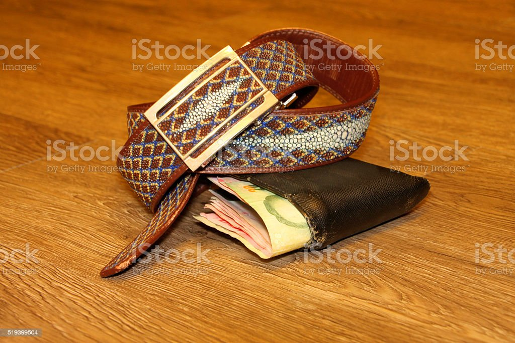 stingray skin belt and money pouch stock photo