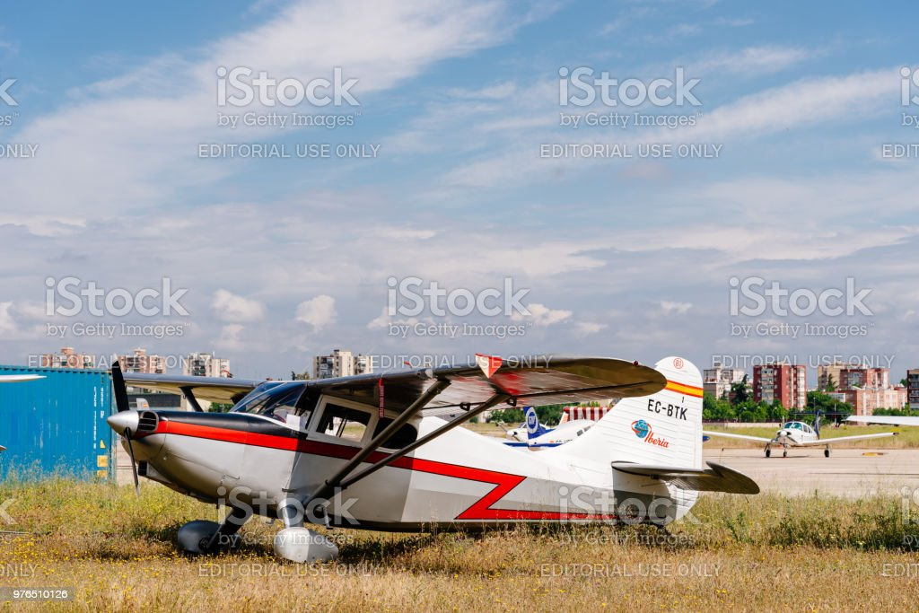 Stinson 108 Voyager BTK aircraft during air show stock photo
