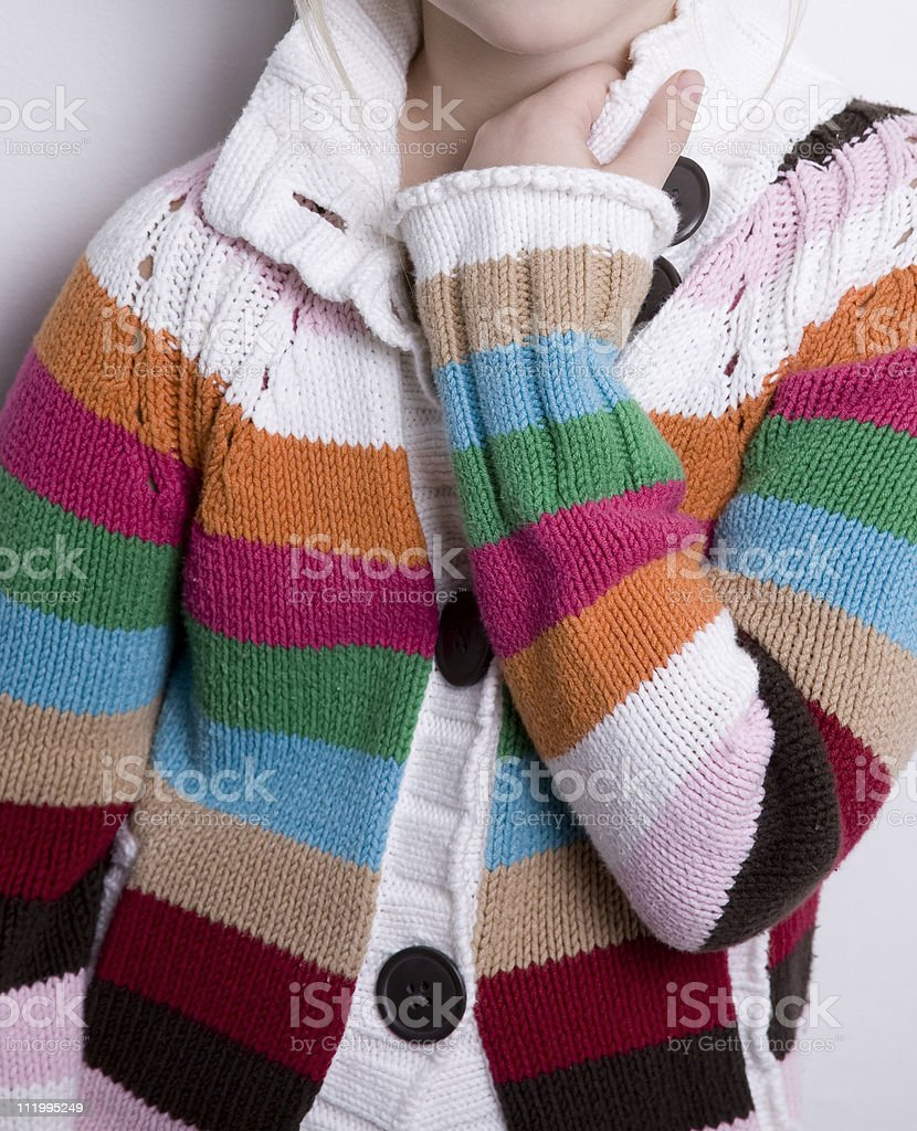 Stiped cardigan sweater royalty-free stock photo
