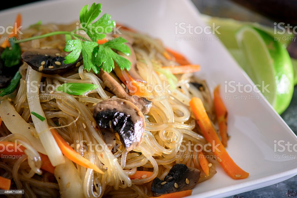 Stir Fried Cellophane noodles, Jap Chae stock photo