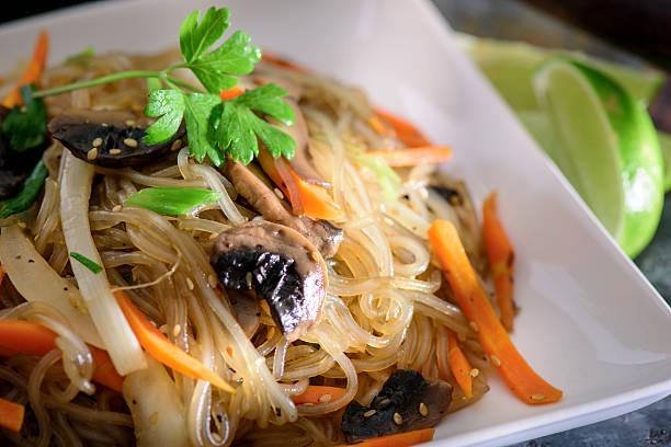 Stir Fried Cellophane noodles, Jap Chae stock photo