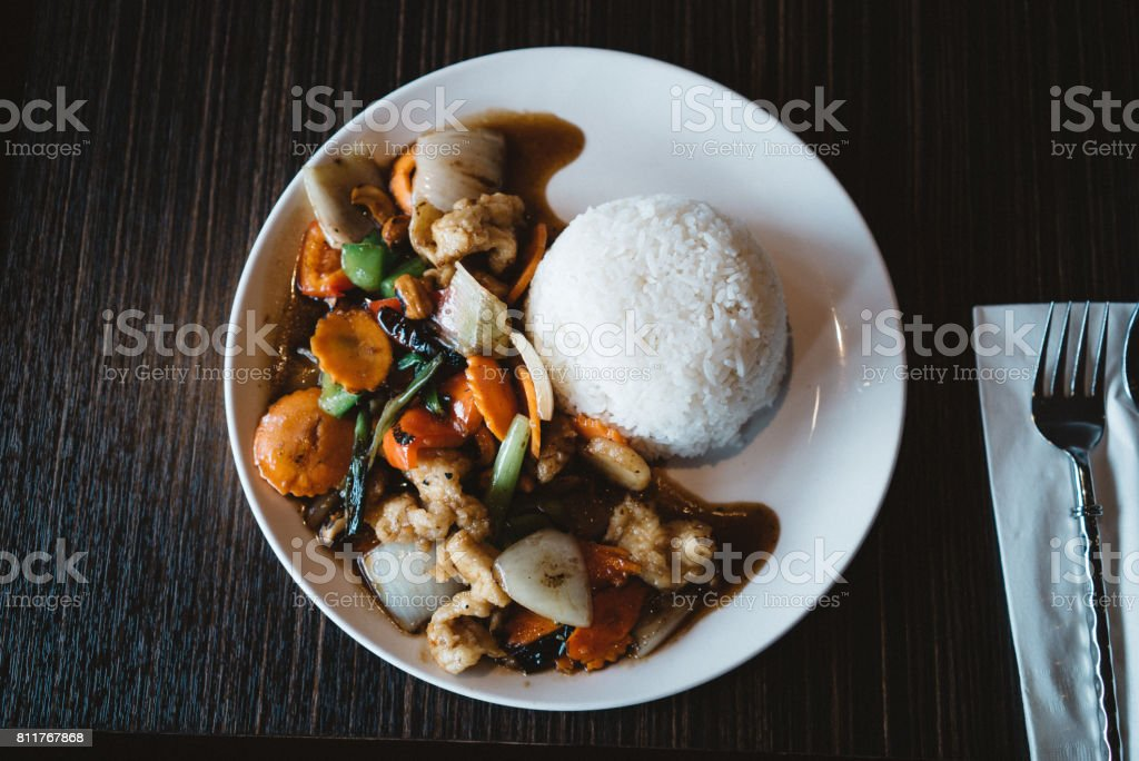 Stir fried chicken cashew nuts stock photo