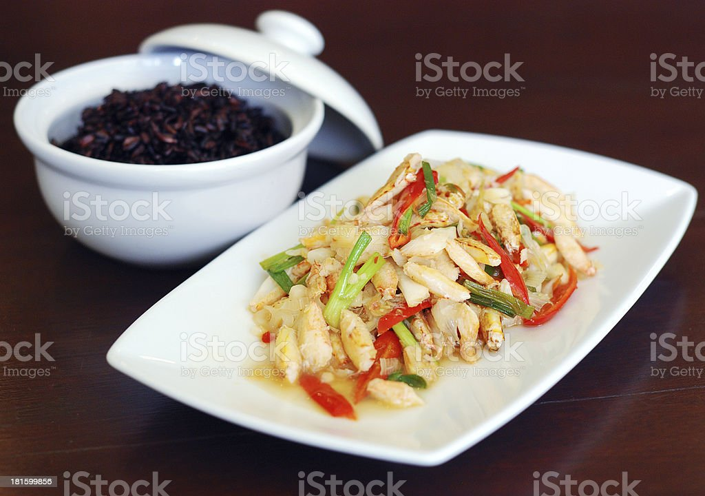 stir fried crab meat stock photo