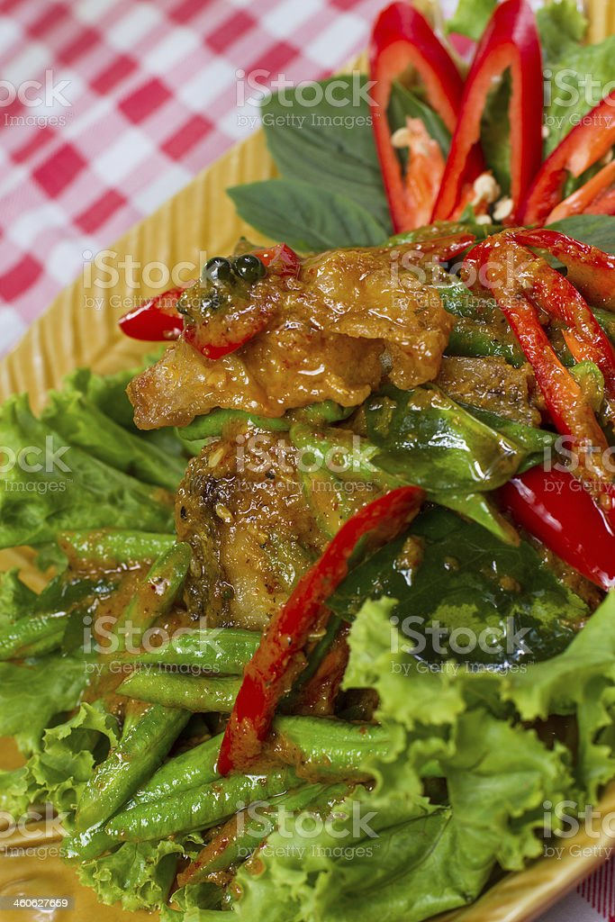 Stir fried fish and curry paste royalty-free stock photo