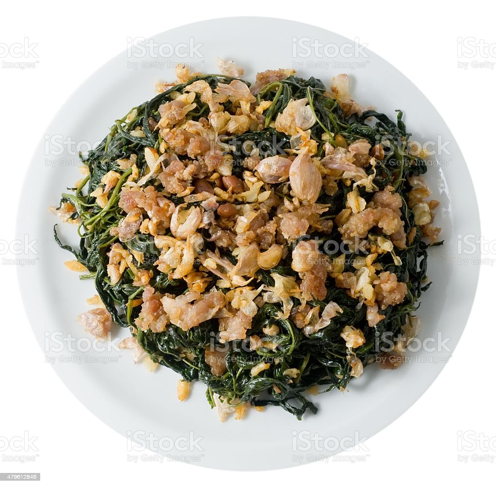 Stir Fried Jute Leaves with Minced Pork on White Background stock photo