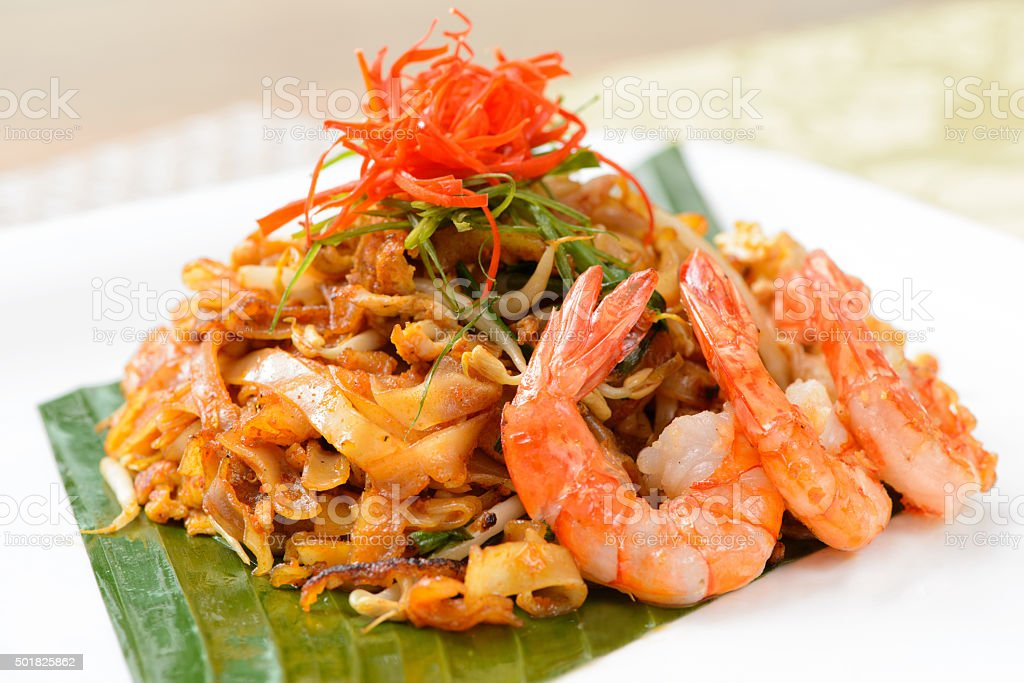 Stir fried penang char kway teow stock photo