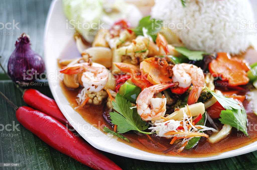 Stir fried shrimp with vegetables and rice stock photo